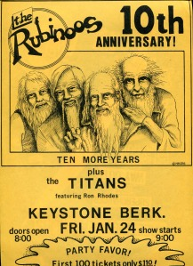 The Rubinoos 10th Anniv. Gig, plus the Titans, at Keystone, by JHS, 1981