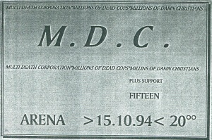 MDC and Fifteen at Arena in Vienna, Austria, 1994